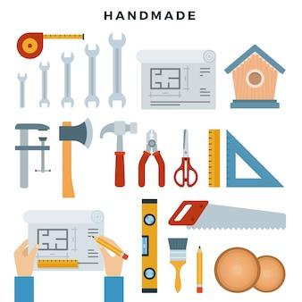 手作りの概念図。作業ツール、セット。自分でやりなさい。フラットスタイルのベクトル図です。