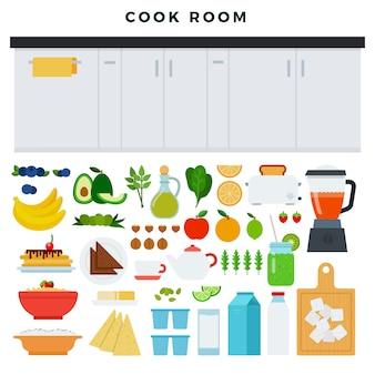 モダンなキッチンのコンセプト台所の作業域、調理プロセスのためのいくつかの食品や器具
