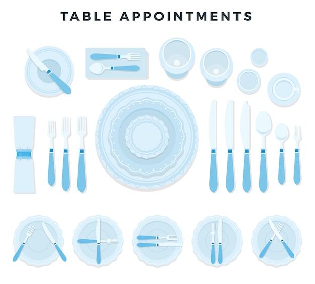 テーブルの予定カトラリーセット:フォーク、ナイフ、スプーン、皿、ナプキン、グラス、カップ、ソーサー。ベクトルイラスト