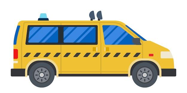 白で隔離されるタクシー車フラットデザイン