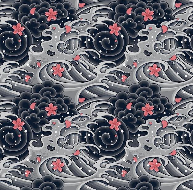 Японская волна с сакурой бесшовные модели.