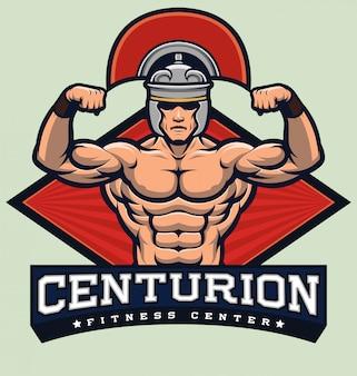 Бодибилдинг фитнес логотип / центурион бодибилдер