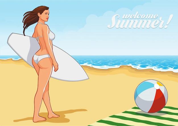 ビーチでセクシーなサーフィン少女