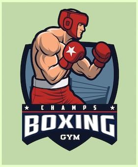 ボクシングのロゴ、ヘッドギアトレーニングを身に着けているボクサー。