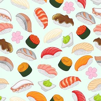 寿司のシームレスパターン