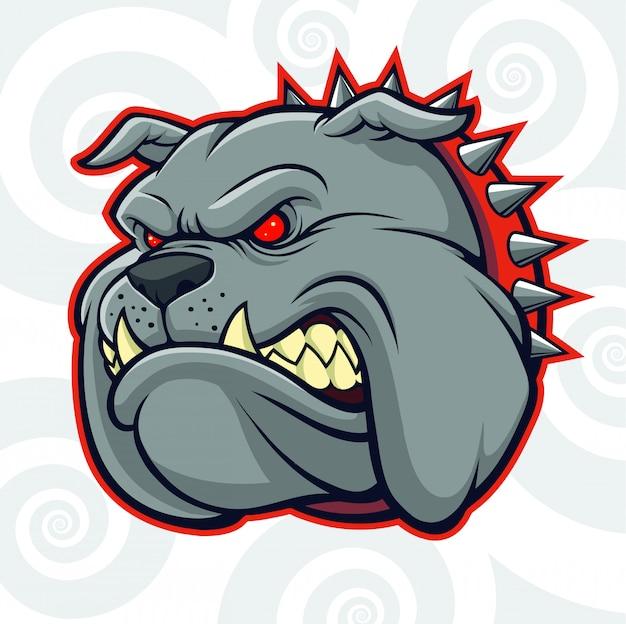 あなたのデザイン要素のロゴの怒っているブル犬の頭
