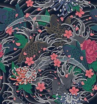 日本の波と恋のイラストのシームレスなパターン。