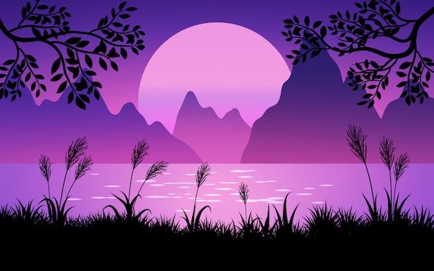 Горный закат с озером