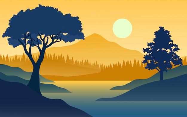 Плоский закат с горы и река