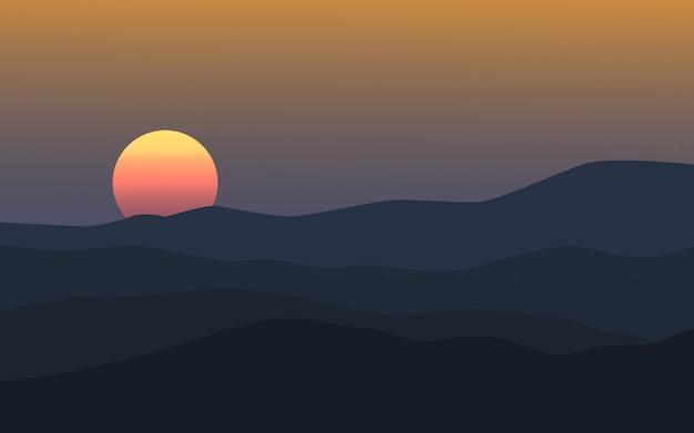 Закат над холмами пейзаж