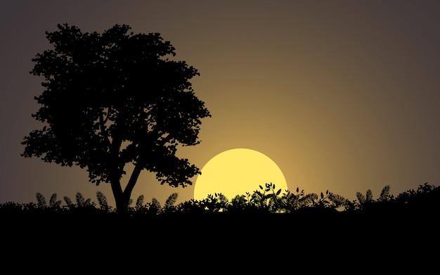 月明かりと木のシルエットの夜の風景
