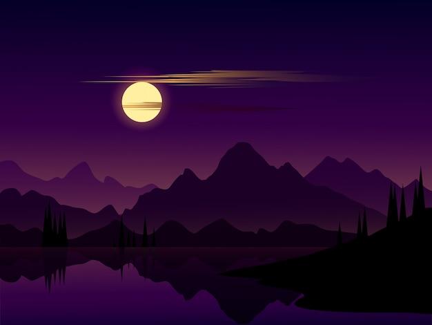 湖の上の山の反射