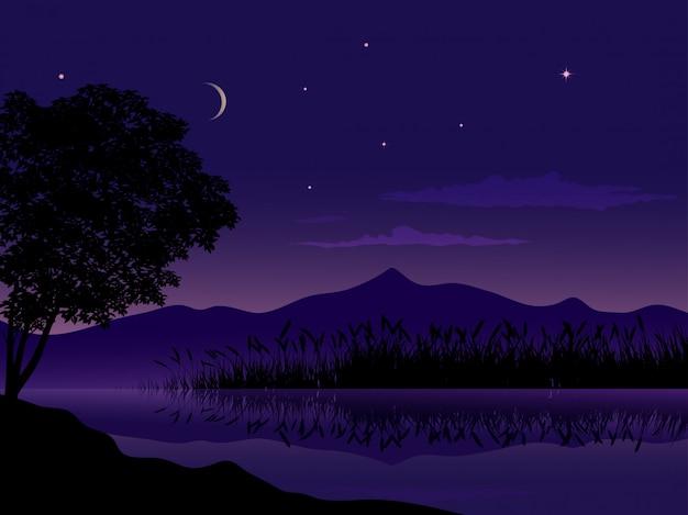 山と湖の夜の風景