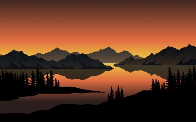Закат на озере с холмами