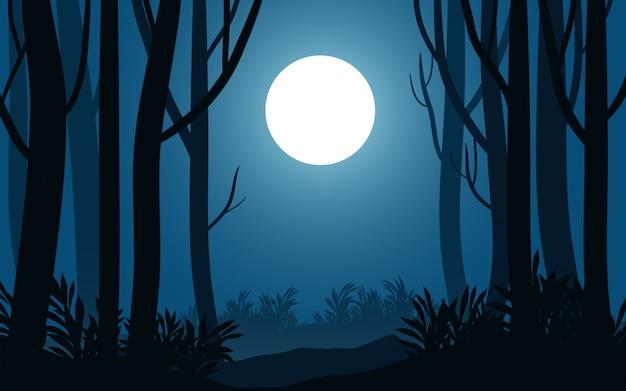 Ночной пейзаж в лесу с силуэтом дерева и полной луной
