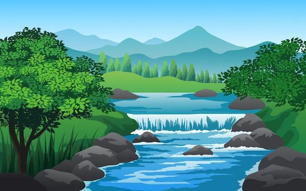 Речной пейзаж в зеленом лесу с камнями