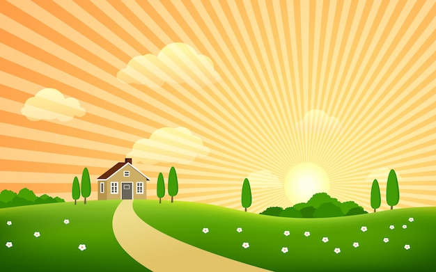 Красивый сельский пейзаж с закатом и домом
