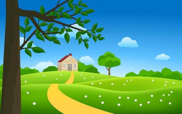 Сельская местность вектор пейзаж с домом