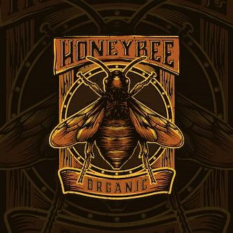 蜂蜜製品やミツバチ農場のロゴデザイン