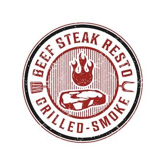 ステーキレストランのヴィンテージロゴ