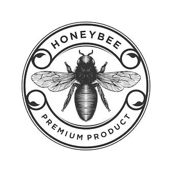 蜂蜜製品またはミツバチ農場のロゴ