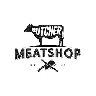 アンガス/牛の農場や肉屋のためのロゴ