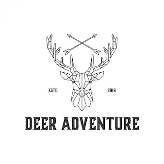 ハンターと野生のためのラインアート鹿ロゴ