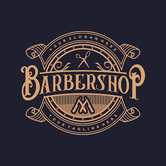 Логотип для парикмахерской в винтажном стиле