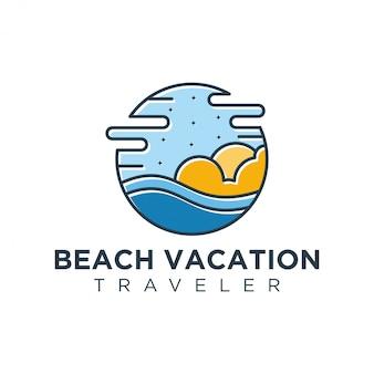 ビーチやアウトドアのレクリエーションのためのモダンなロゴ