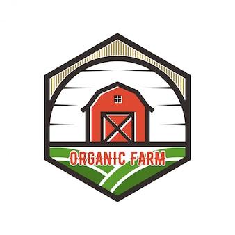納屋の要素を持つ農業産業のためのロゴ