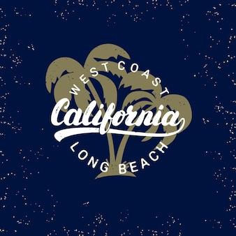 カリフォルニアの手書きのヤシの木の背景を持つレタリング。