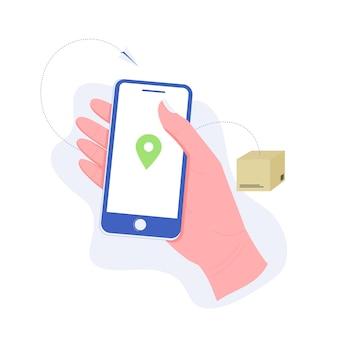 配送、パッケージまたは注文追跡の概念。