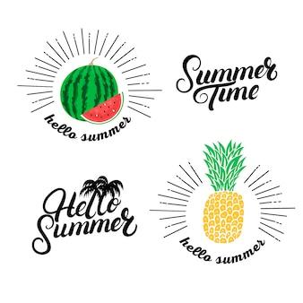 こんにちは夏セット。手書きのレタリング引用符と手描きのパイナップルとスイカ。