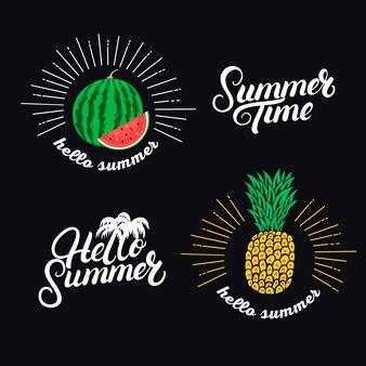 Привет летний сет. рукописные надписи цитаты и рисованной ананас и арбуз.