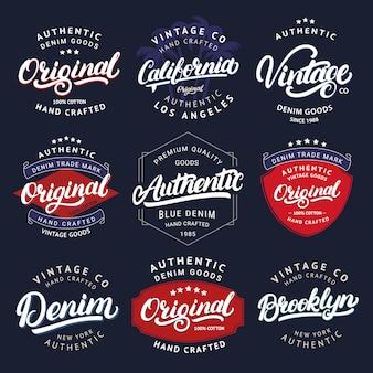 カリフォルニア、ヴィンテージ、ブルックリン、デニム、オリジナル、オーセンティックの手書きのレタリングの大きなセット