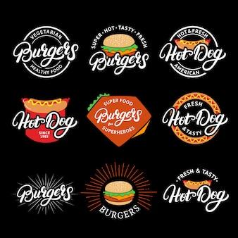 ハンバーガーとホットドッグの手書き文字ロゴ、バッジ、ラベル、エンブレムのセットです。ヴィンテージレトロなスタイル。