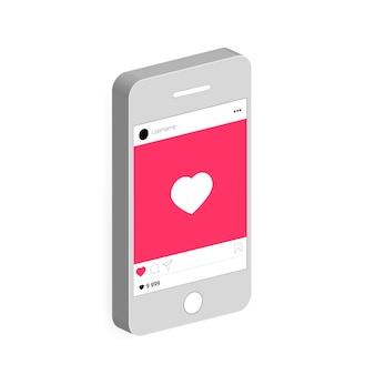 Реалистичный мобильный телефон с приложением социальной сети.