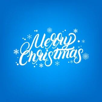 Счастливого рождества рукописные надписи дизайн. падающие сноу и снежинки.