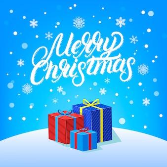 Счастливого рождества рукописные надписи дизайн с падением сноу, снежинки и подарки.