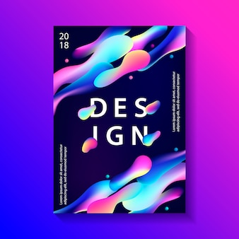 Креативный дизайн плаката с пластиковыми формами.