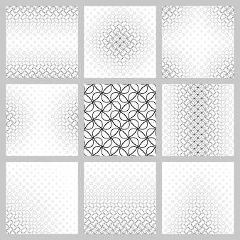 黒と白の楕円グリッドパターンセット