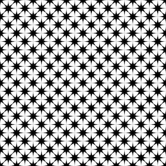シームレスな白黒の星のパターン - 幾何学的な多角形の形状からのベクトルの背景グラフィックデザイン