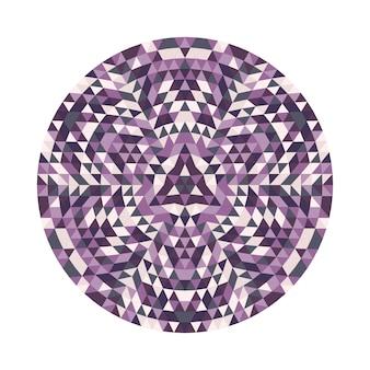 円形の幾何学的三角形の万華鏡の曼荼羅のデザインシンボル - 対称ベクトルパターンのデジタルアート