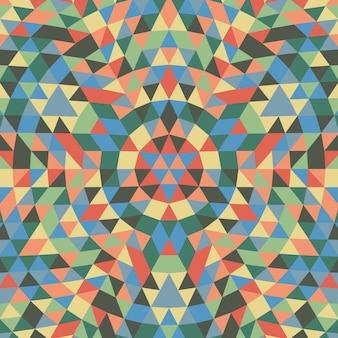 円形の幾何学三角形の曼荼羅の背景 - カラフルな三角形からの対称的なベクトルパターンの設計