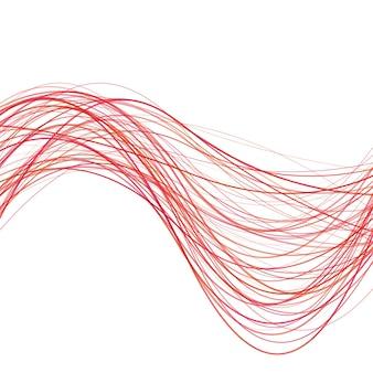 ダイナミックな抽象的な波の線の背景 - 赤い曲線のストライプからのベクトル図