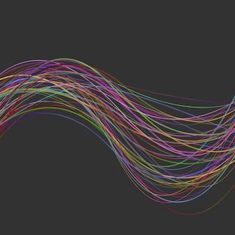 Абстрактный современный волнистый полосатый фон - векторный графический дизайн из красочных криволинейных линий
