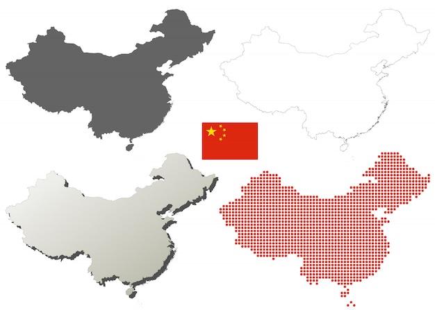 中国のベクトルアウトラインマップセット