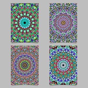 カラフルな抽象的な花のモザイク曼荼羅パターンのポスターの背景デザインのセット