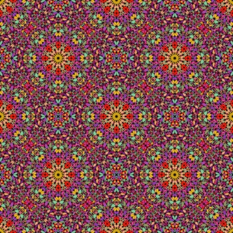 シームレスなボヘミアン抽象花飾りパターン
