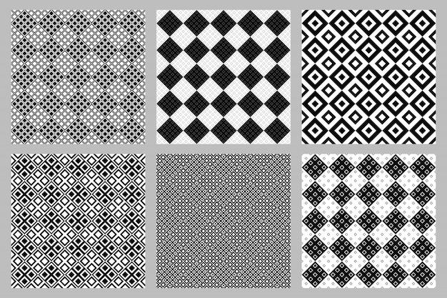 抽象的な斜めの正方形パターン背景セット
